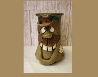 Vintage Clay Mug with Cowboy Face, 1970's