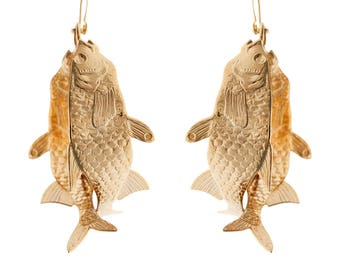 Aquarium earrings 18 karat gold plated