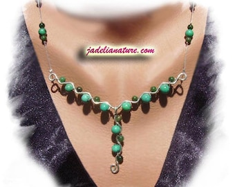 Necklace transvaal Jade and Turquoise, 925 sterling silver