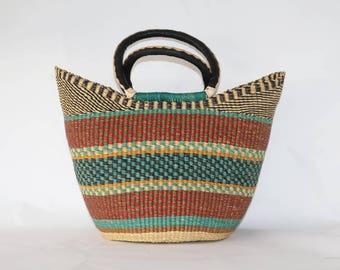Mixed vibrant Colors Woven Large Basket Bag