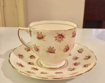Vintage Rosina Cup and Saucer Small Rose Pattern with gold trim at edge. Made in England Perfect for the Shabby Chic or Cottage Chic Decor