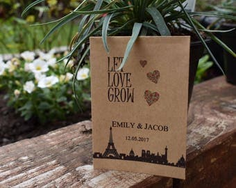 Wedding Favour Seed Packet Envelopes Seed Favour Wedding Let Love Grow x10