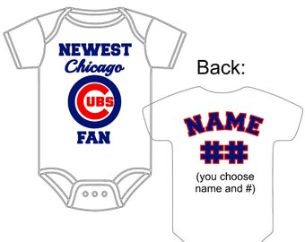 Newest Chicago Cubs Fan Custom Made and Personalized Baseball Gerber Onesie You choose name & number (back) - great new baby or shower gift