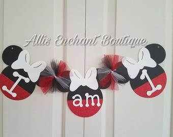 Tule Minnie Mouse One Banner I am One Banner High Chair Banner birthday