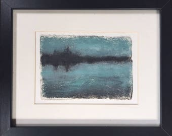 lake oil painting, oil painting of lake, small oil painting, shoreline painting, abstract lake painting