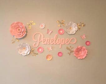 Pink paper flowers nursery wall decor. White paper flowers wall. Nursery gold flowers wall. Wedding white flowers wall. Girls room flower.