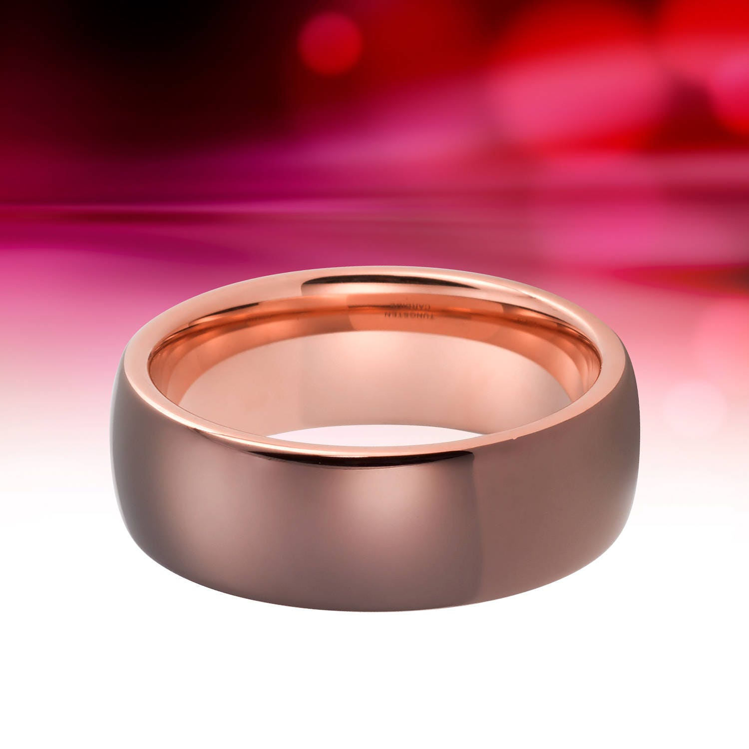 Tungsten Ring Rose Gold Wedding Band Brown Ring 8mm Tungsten Carbide ...