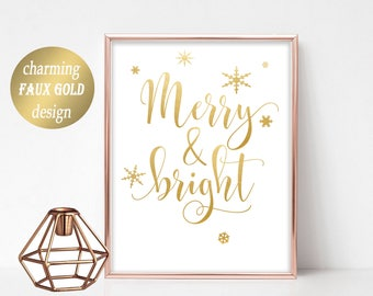 Gold Xmas Printable Merry and Bright Christmas Printable Decor Wall Art Christmas Sign Xmas Holiday Typography Decor Gold Christmas Decor