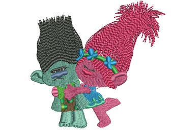 Branch and Poppy Embroidery Design, Trolls Embroidery Design, Poppy Embroidery, Baby Embroidery Design, Girl embroidery design, Trolls Movie