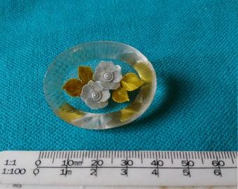 Vintage Handpainted Perspex/lucite/ plastic Brooch