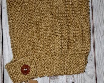 Cute Hand Knitted Pixie Bonnet 0-6 Tan