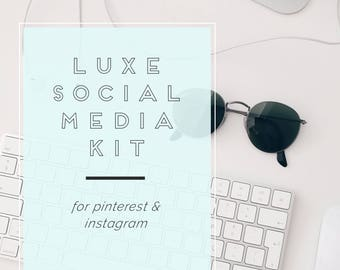 Social Media Kit, Pinterest Template, Instagram Template, For Photoshop + Canva, Editable Instant Download for Bloggers, Social Media Posts