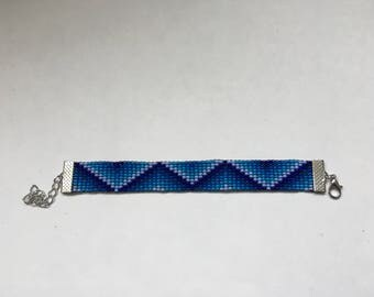 Beaded Blue Zig Zag Bracelet