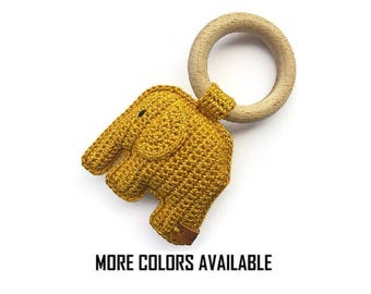 Rattle with crocheted elephant