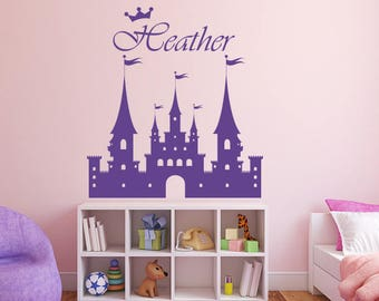Princess Castle With Customized Girls Name, Castle Decal, Girls Bedroom Decals, Princess Decal, Wall Decals, Girls Room Stickers, Princess
