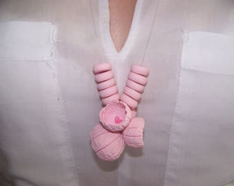 Handmade necklace made of polymer clay, polymer clay, pink, pearls