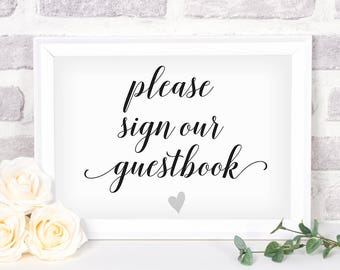 Printable Guestbook Sign. Bridal Shower Sign. Wedding Sign. Guestbook Sign #1