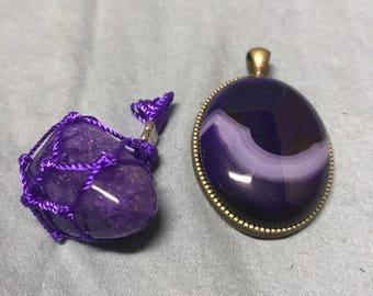 Unusual pendant with amethyst piece