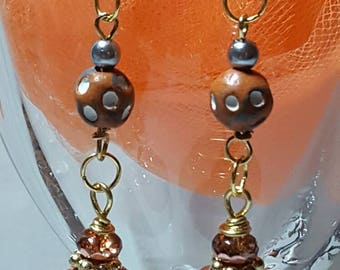 Brown and Mirror Dangle Earrings with Gold Tone