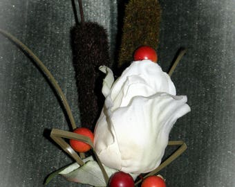 Father of the Bride, Grooms, Grooms men boutonniere, Camouflage, Rose, Cattails and Berries