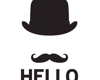 HELLO Soft Vintage hat Gentleman black frame digital art Download