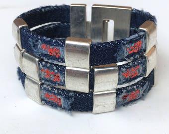 Jeans bracelet magnetic closure denim dq metal nickel free bracelet