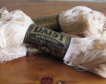 Daisy Lily Mills Mercerized Crochet Thread #30 Ecru/White