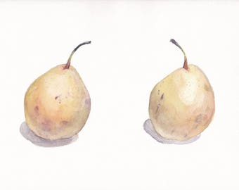 Watercolor still life with creamy pears on white background / Chinese pear / Original watercolor / Botanical watercolor / Birthday gift
