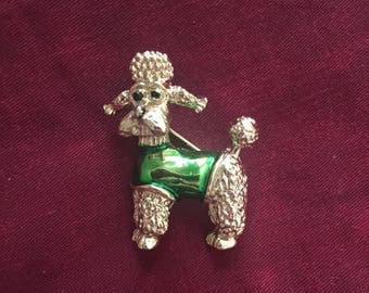 Vintage Poodle in Green Sweater Pin