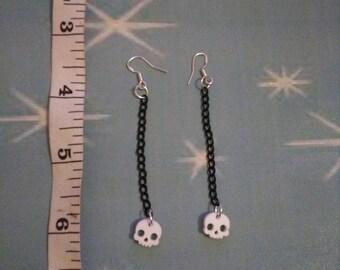 Small skull drop earrings