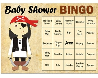 pirate baby shower bingo, 60 pirate Baby Shower Bingo Cards -  baby shower Bingo Card , Printable Blank Bingo Cards AND PreFilled Cards