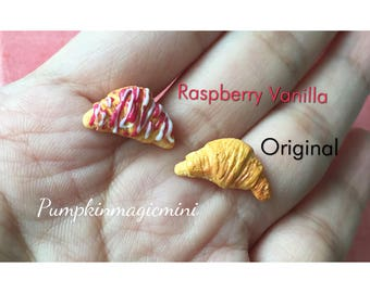 Handmade Delicious 3D Croissant Earrings Polymer Clay Miniature