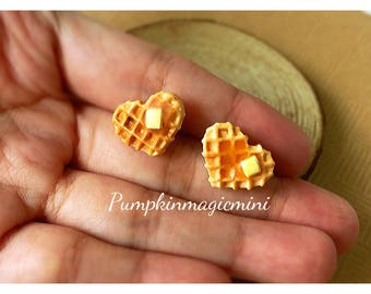 Heart Waffles with butter polymer clay earrings, fake food, polymer jewelry, food jewelry, food miniatures