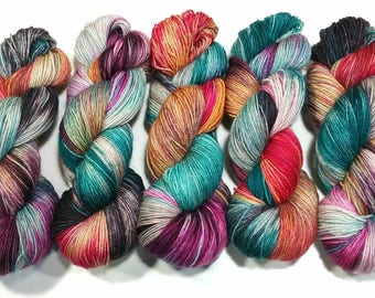 Hand Dyed Yarn: Rainbow Trout - Pasture Sock Base {BFL Wool/Nylon, 407yd, fingering} Suitable for knitting and crochet