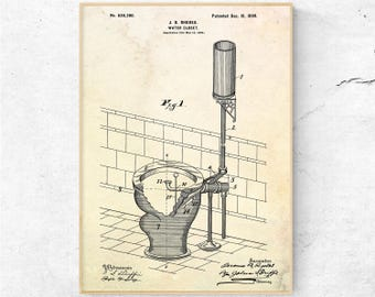 Water Closet Patent Print. Toilet Sign. Toilet Wall Art. Toilet Blueprint. Toilet prints. Toilet Poster. Bathroom Wall Art. Bathroom Decor.
