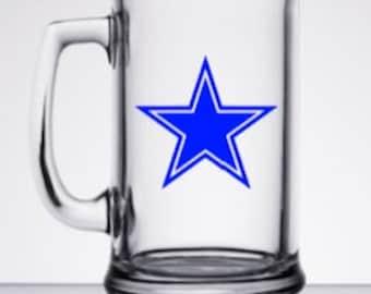 Dallas Cowboys Star inspired decal beer mug