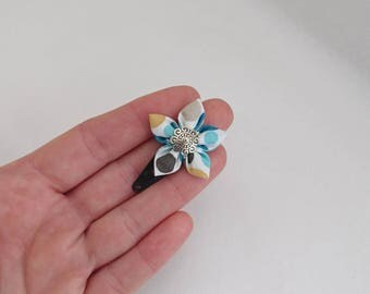 Flower hair clip with white polka dot light blue, turquoise, yellow, grey, black
