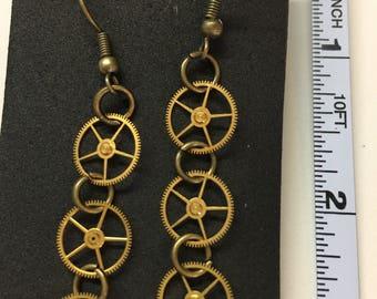 watch gear earrings