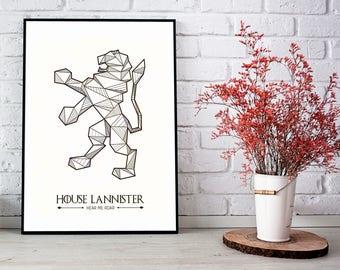 House Lannister Poster, Game of Thrones Banner, House Lannister Print, Game of Thrones Wall Art, Lannister Banner, Hear Me Roar