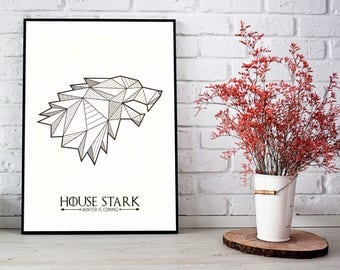 House Stark Geometric Print, Game of Thrones Wall Art, House Stark Poster, Game of Thrones Art, Stark Sigil, GoT Houses, Winter is Coming