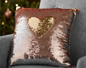 Rose and Champagne Sequin Pillow