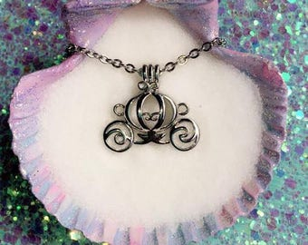 Any Color Akoya Oyster with pearl inside & Princess Carriage Charm Cage with Chain