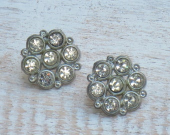 Vintage Crytal Silver Flower Buttons
