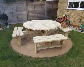 Round Garden Picnic Table / Bench Set