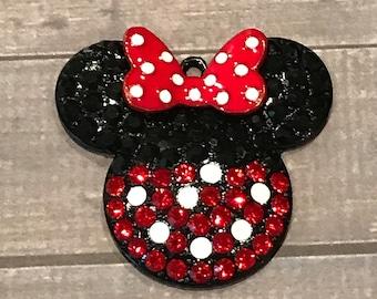 Minnie Mouse Pendant, Chunky Bead Pendant, Rhinestone Pendant, Minnie Mouse