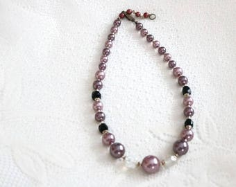 Vintage art deco imitation pearl and chrystal glass beaded choker necklace, lavender, black and pink, 1920 - 1940 gatsby era necklace