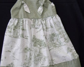 Classic Green Toile Knot Sundress