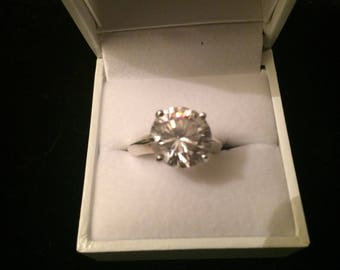 Large 12mm Cubic Zirconia in Sterling Silver 925 Size UK P or USA 7.5 comes in a ring box