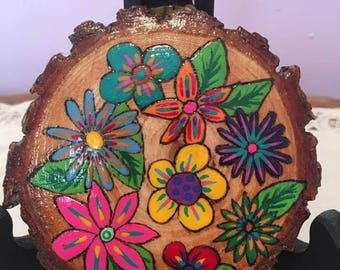 Flower wood slices, wood burnt and hand painted. Set of 3