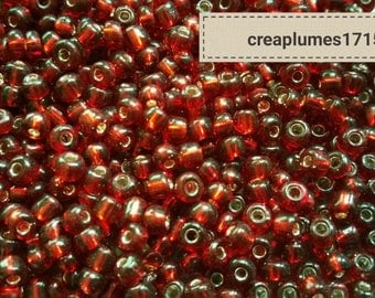 Set of 20g red hole glass beads 4mm silver
